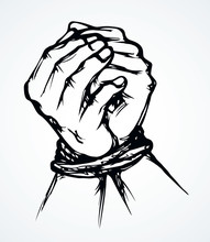 Roped Bound Hands. Vector Drawing