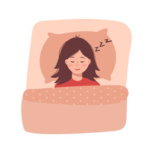 Cute Woman Sleeping, Vector Illustration On White Background