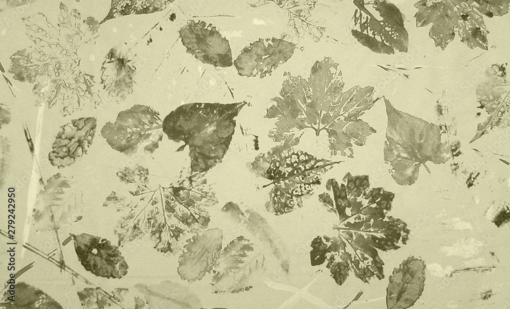 Vintage style abstract art leaves painting