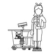 Cleaner worker with cleaning products and equipment in black and white