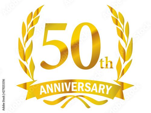 Fotografía  月桂樹をモチーフにしたアニバーサリーのゴールドメタリックのロゴ_50周年・月桂冠・ローレル_50th Anniversary logo