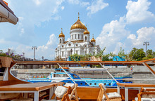Beautiful View From The River Ship To The Cathedral Of Christ The Savior. Moscow, Tourism, Architecture, Famous Places In The Center Of Moscow.