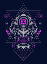 Devil Mask Head Logo Illustration With Sacred Geometry Pattern As The Background