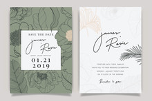 Summer Flower Wedding Invitation Set, Floral Invite Thank You, Rsvp Modern Card Design In Pink Peony And White  Floral With Leaf Greenery  Branches Decorative Vector Elegant Rustic Template