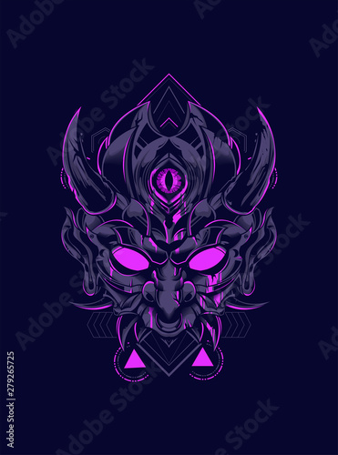 Canvas Print Devil mask head logo illustration with sacred geometry pattern as the background