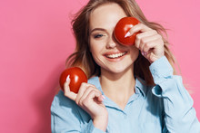 Female Doctor With Red Apple
