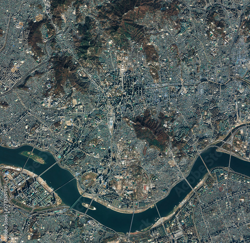 Photo High resolution Satellite image of Seoul, South Korea (Isolated imagery of South Korea