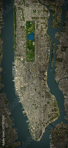 Fotografia High resolution Satellite image of Manhattan, New York (Isolated imagery of USA