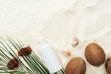 top view of seashells, coconuts and sunscreen lotion, sunglasses and palm leaf on sand