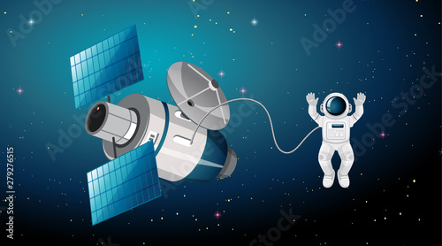 Photo Stands Kids Astronaut and satellite scene