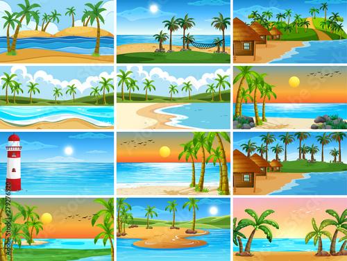 Poster de jardin Jeunes enfants Set of beach scenes