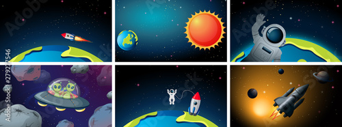 Set of space backgrounds
