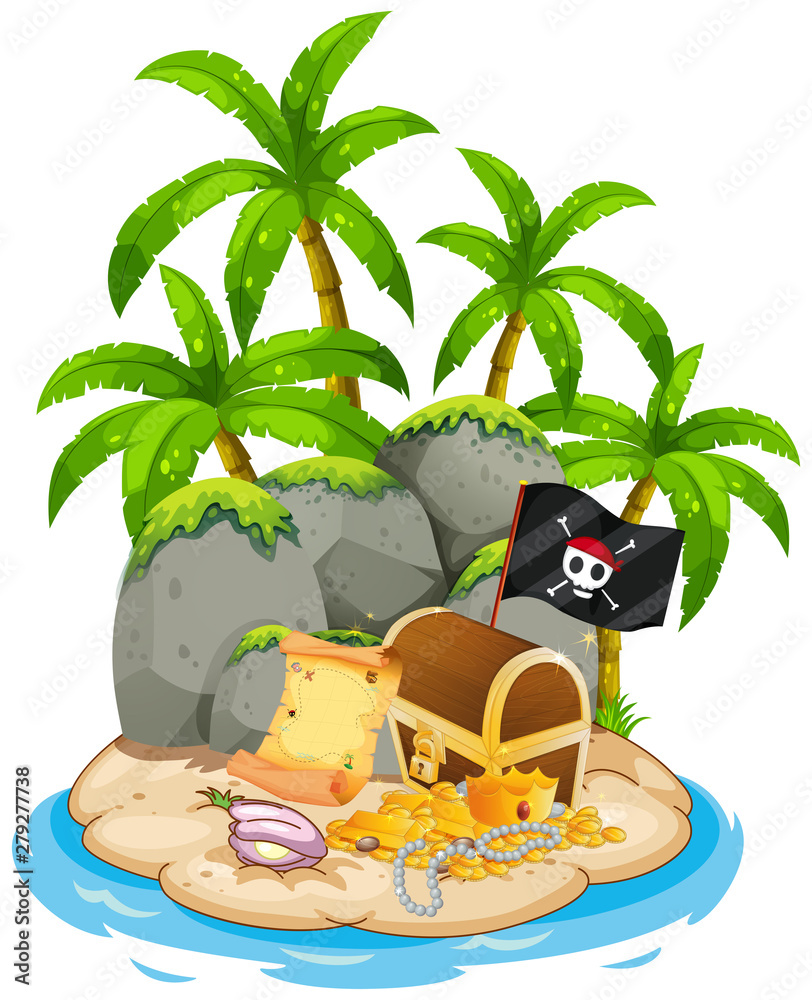 Treasure on island beach scene <span>plik: #279277738 | autor: GraphicsRF</span>