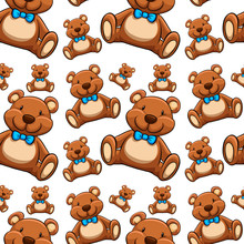 Seamless Pattern Tile Cartoon With Teddies