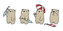 Bear Vector Icon Polar Bear Umbrella Rain Logo Cartoon Character Doodle Illustration Design