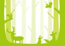 森の動物 シルエット