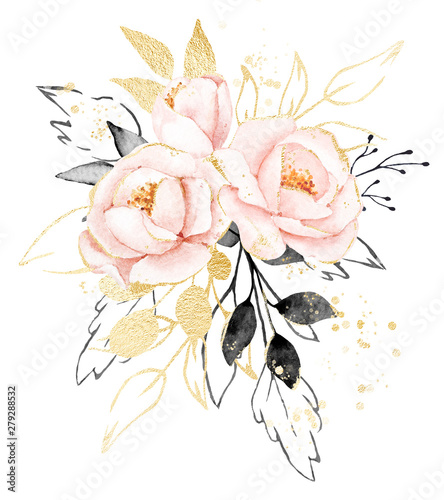 Valokuva  Watercolor flowers, floral bouquet with gold gray leaves and blush pink peonies