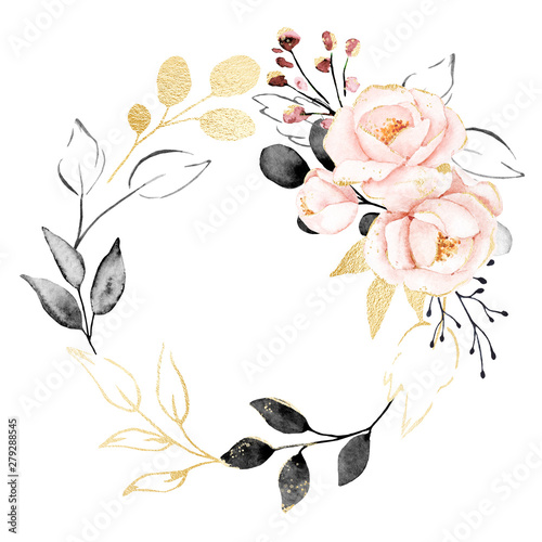 Fotomural  Watercolor flowers, floral wreath with gold gray leaves and blush pink bouquet