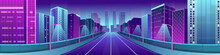 Neon City With Bright Houses And Road. Vector Illustration.