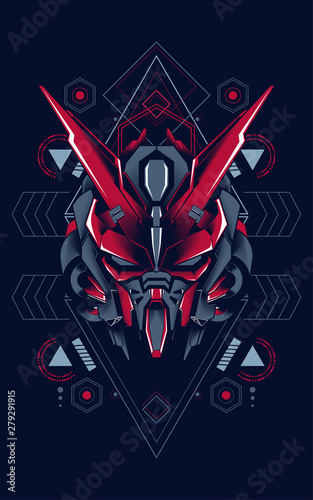 Mecha head logo illustration with sacred geometry pattern as the background