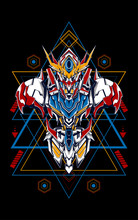 Mecha Head Logo Illustration W...