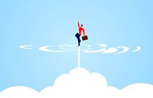 Businessman Takes Off And Rushes Out Of The Clouds
