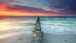 canvas print picture - magischer Sonnenuntergang am Meer