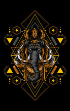 Lembuswana The Big Mammoth With Gold Crown And Sacred Geometry Pattern As The Background