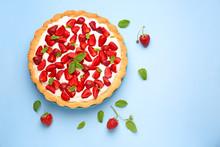 Tasty Strawberry Cake On Color Background
