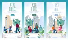 City Recreational Park Flat Vector Web Banners Set