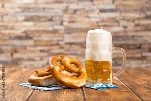 Carta da parati pretzel and beer for german oktoberfest