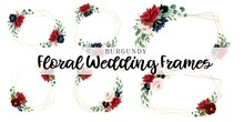 Burgundy Floral Wedding Frames