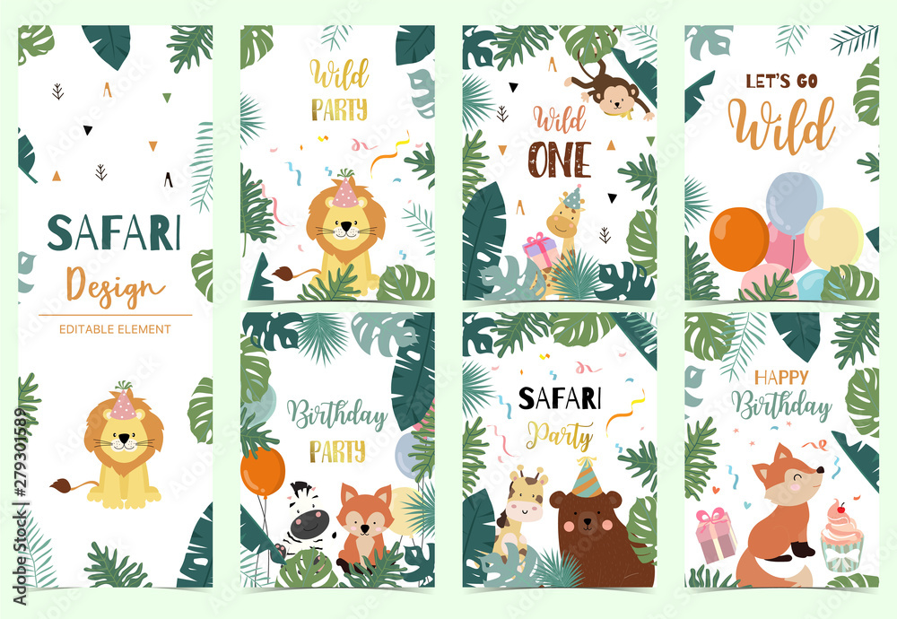 Fototapety, obrazy: Green collection of safari background set with lion,fox,bear,giraffe,monkey.Editable vector illustration for birthday invitation,postcard and sticker.Wording include wild one