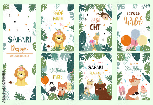 Photo  Green collection of safari background set with lion,fox,bear,giraffe,monkey