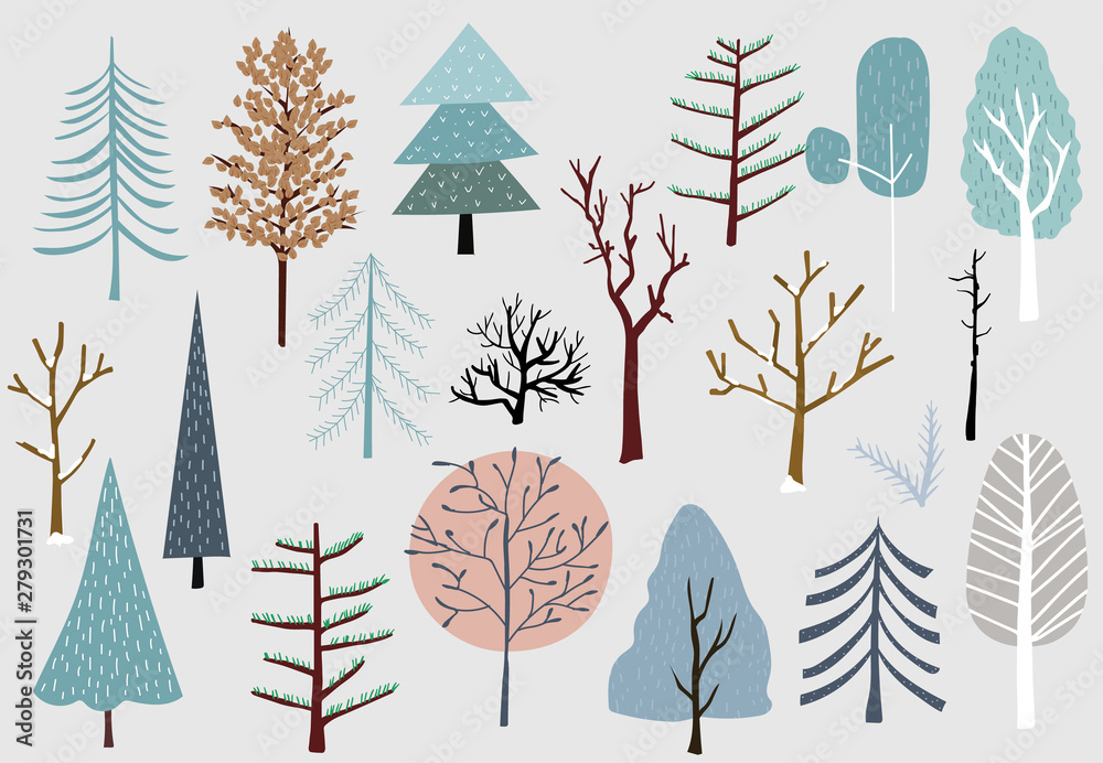 Fototapety, obrazy: Winter tree set with blue,brown,pink illustration for sticker,postcard,background,christmas invitation