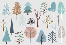 Winter Tree Set With Blue,brow...