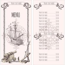 Adventure Stories. Pirate Background. Vintage Border Frame. Old Caravel, Vintage Sailboat. Menu