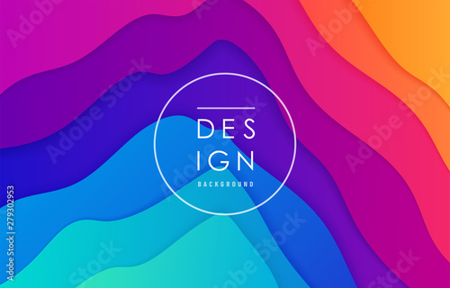 Foto auf Leinwand Violett Peak view abstract vector background. Mountain landscape card layout in bright vibrant rainbow color for minimal motion dynamic pattern design