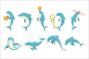 Panel Szklany Podświetlane Delfin Bottlenose Dolphin Performing Tricks Set of Illustrations