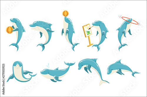 Carta da parati Bottlenose Dolphin Performing Tricks Set of Illustrations