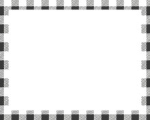 Rectangle Borders And Frames Vector. Border Pattern Geometric Vintage Frame Design. Scottish Tartan Plaid Fabric Texture. Template For Gift Card, Collage, Scrapbook Or Photo Album And Portrait. EPS 10