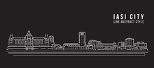 Cityscape Building Line Art Vector Illustration Design - Iasi City