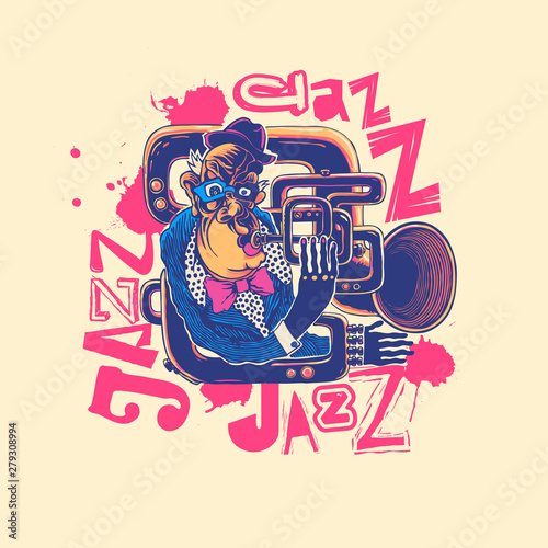 Design Jazz for poster or t-shirt print with jazz trumpeter Canvas Print