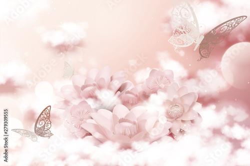 Obrazy różowe  pastel-pink-paper-flowers-and-cloud