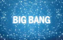 Big Bang On Digital Interface And Blue Network Background