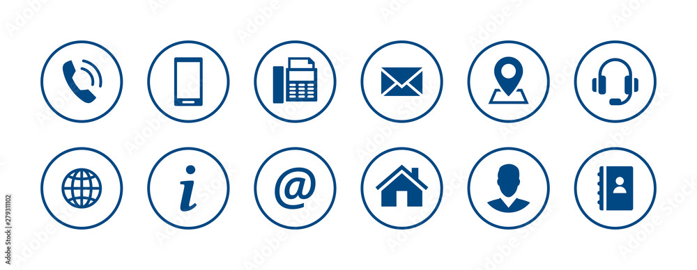 Fototapeta Set of contact icons in circles