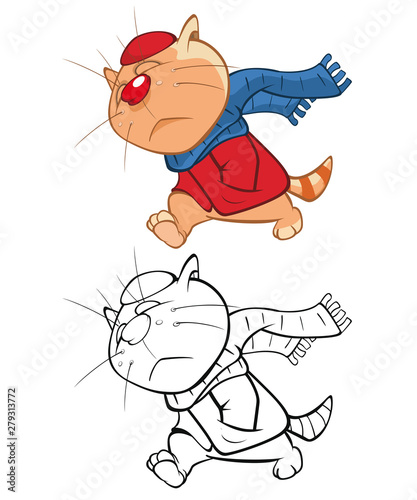 Poster Chambre bébé Illustration of a Cute Cartoon Character Cat for you Design and Computer Game. Coloring Book Outline Set