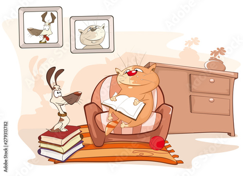Poster Chambre bébé Vector Illustration Cat Reading a Book little Puppy Comics Book