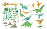 Fototapeta Dino - Set of dinosaurs, ancient plants, volcanoes of the Jurassic period.
