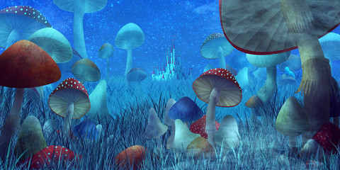 "fantastic landscape with mushrooms and fog. illustration to the fairy tale ""A..."